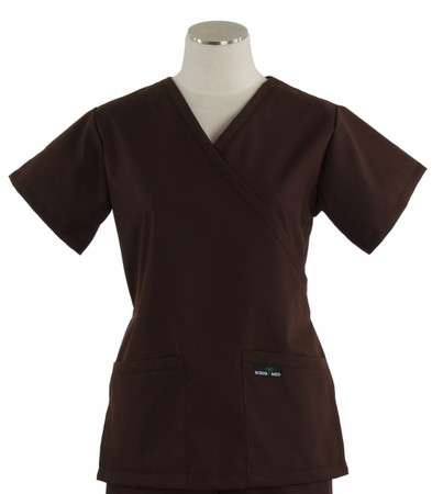 Scrub Med womens demi wrap scrub top dark chocolate