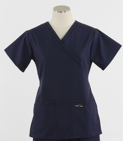 Scrub Med womens demi wrap scrub top navy