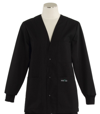 Scrub Med womens v-neck lab jacket black