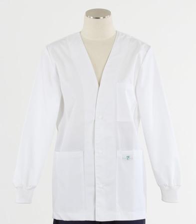 Scrub Med womens v-neck lab jacket white