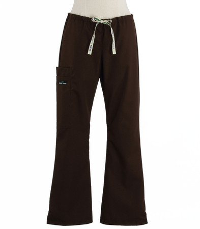 Scrub Med womens flare leg scrub pants dark chocolate