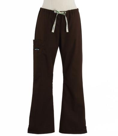Scrub Med womens flare leg scrub pants dark chocolate