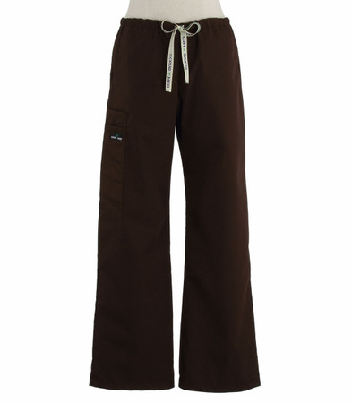 Scrub Med womens low rise, wide leg scrub pants on sale dark chocolate
