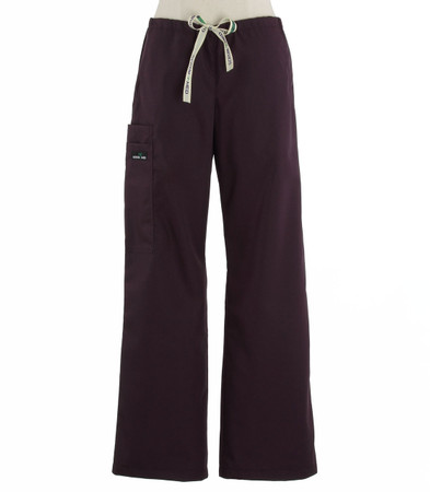 Scrub Med womens low rise, wide leg scrub pants on sale eggplant