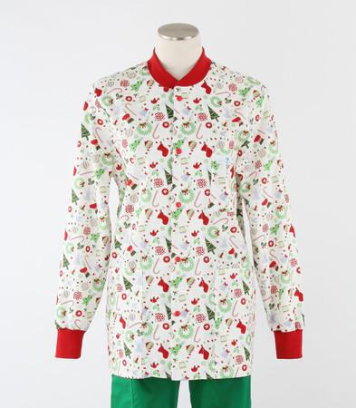 Scrub Med womens crew neck lab jacket on sale jingle bell
