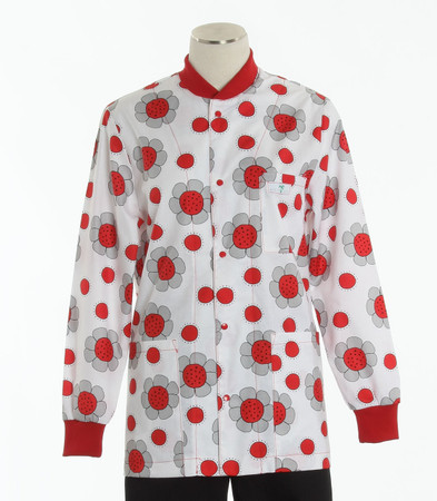 Scrub Med womens crew neck lab jacket lady bug paradise