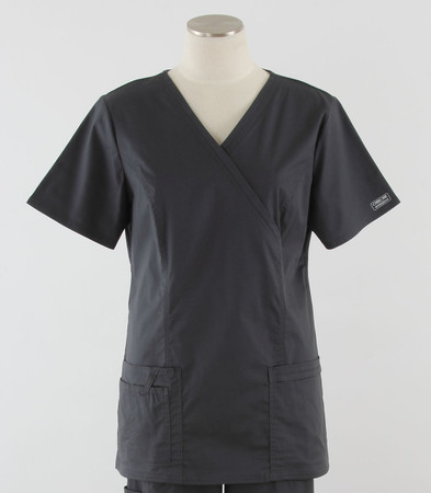 Cherokee Workwear Womens Mock Wrap Scrub Top Pewter