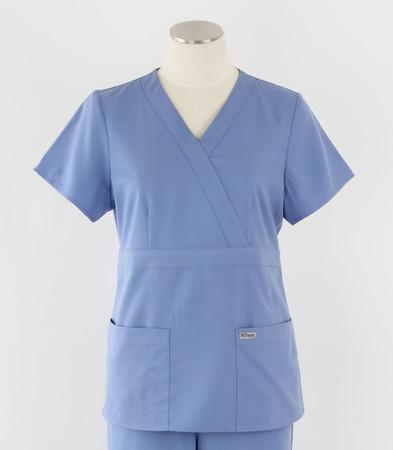 Greys Anatomy Womens Mock Wrap Scrub Top Ciel