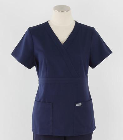 Greys Anatomy Womens Mock Wrap Scrub Top Indigo