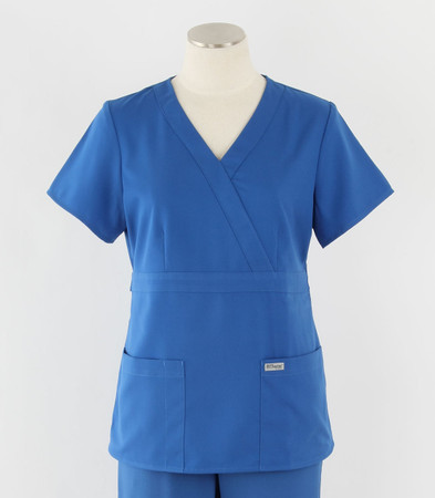 Greys Anatomy Womens Mock Wrap Scrub Top New Royal