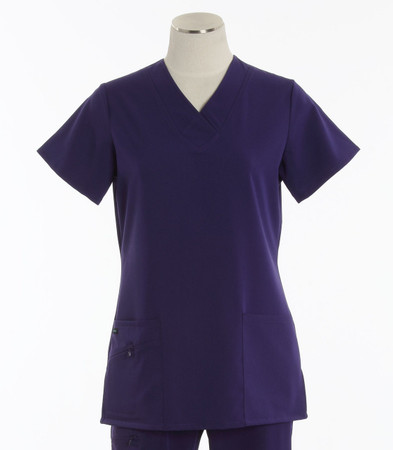 Jockey Womens Scrub Top with Soft V-Neck Purple