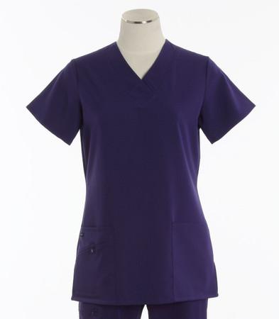 Jockey Womens Scrub Top with Soft V-Neck Purple