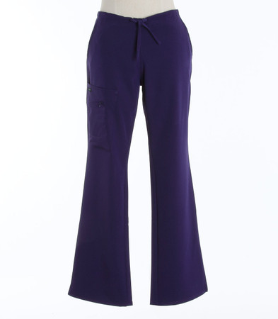 Jockey Womens Petite Scrub Pants with Half Elastic, Half Drawstring Purple