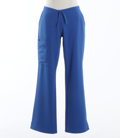 Jockey Womens Petite Scrub Pants with Half Elastic, Half Drawstring Royal