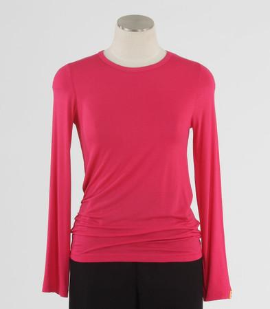 WonderWink Womens Silky Long Sleeve Tee Hot Pink