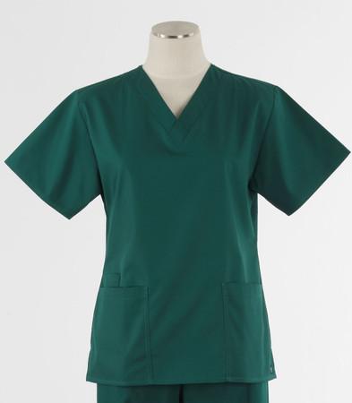 Maevn Womens Fit 2 Pocket V Neck Scrub Top Hunter Green