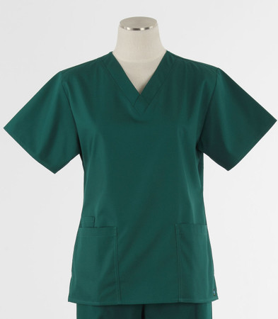Maevn Womens Fit 2 Pocket V Neck Scrub Top Hunter Green