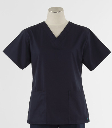 Maevn Womens Fit 2 Pocket V Neck Scrub Top Navy