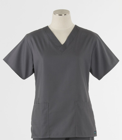 Maevn Womens Fit 2 Pocket V Neck Scrub Top Pewter