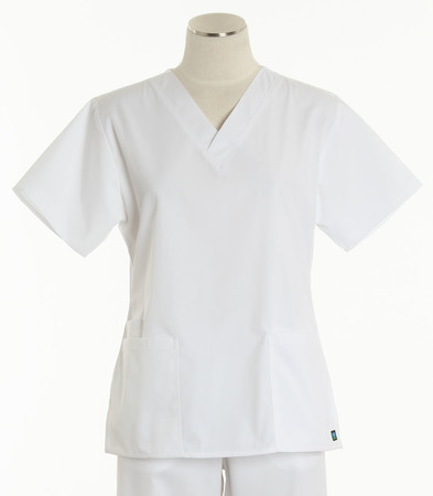 Maevn Womens Fit 2 Pocket V Neck Scrub Top White