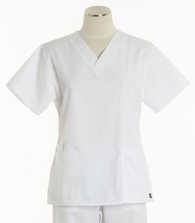 Maevn Womens Fit 2 Pocket V Neck Scrub Top White