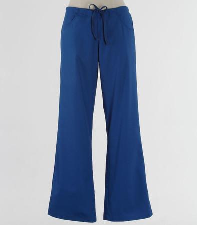 maevn Womens Fit Drawstring w/ Back Elastic Flare Leg Scrub Pant Royal