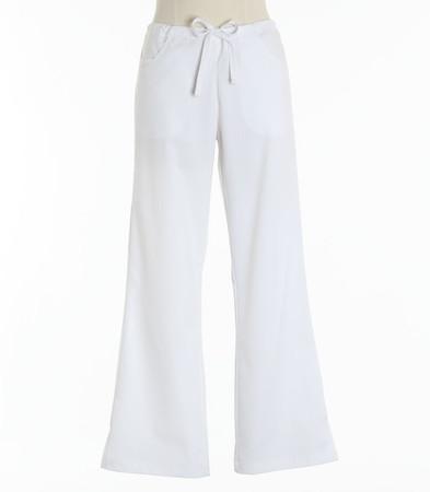 Maevn Womens Fit Drawstring w/ Back Elastic Flare Leg Scrub Pant White