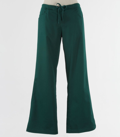 maevn Womens Fit Tall Drawstring w/ Back Elastic Flare Leg Scrub Pant Hunter Green