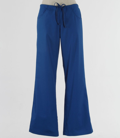 maevn Womens Tall Fit Drawstring w/ Back Elastic Flare Leg Scrub Pant Royal