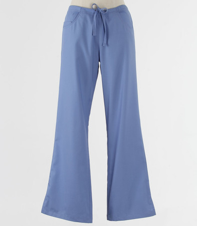 maevn Womens Fit Petite Drawstring w/ Back Elastic Flare Leg Scrub Pant Ceil Blue