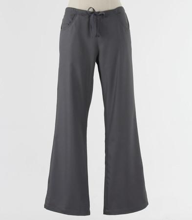 maevn Womens Fit Petite Drawstring w/ Back Elastic Flare Leg Scrub Pant Pewter
