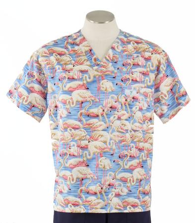 Scrub Med Mens Print Scrub Top Flamingos