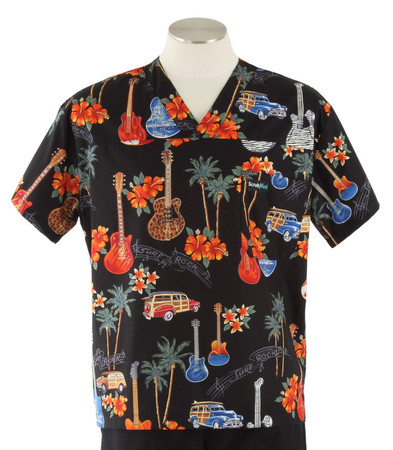 Scrub Med Mens Print Scrub Top Surf Rock