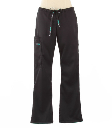 Scrub Med womens flare leg stretch scrub pants jet black