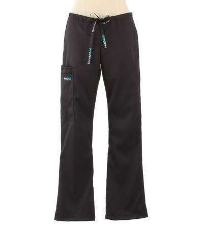 Scrub Med womens flare leg stretch scrub pants jet black