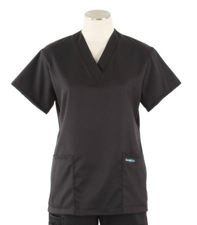 Scrub Med womens v-poc solid stretch scrub top jet black