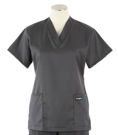 Scrub Med womens v-poc solid stretch scrub top pewter
