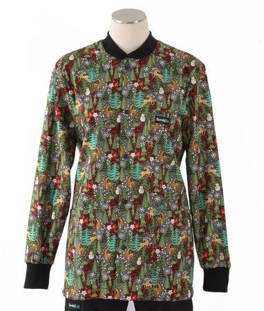 Scrub Med womens crew neck lab jacket reindeer games
