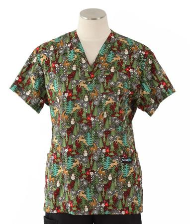 Scrub Med womens v-poc print scrub top on sale reindeer games