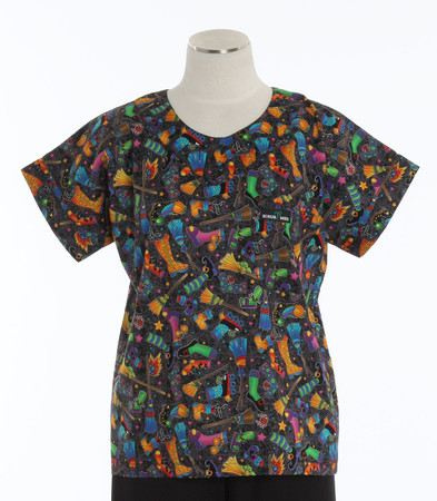 scrub med discount halloween print scrub top witches brew