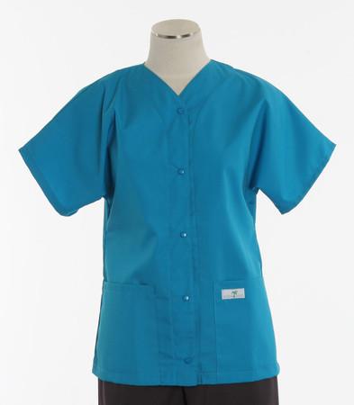 Scrub Med womens cheap scrub top baseball turquoise
