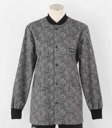Scrub Med womens crew neck print lab jacket peonies