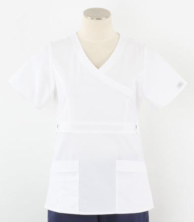 Dickies Gen Flex Womens White Mock Wrap Scrub Top