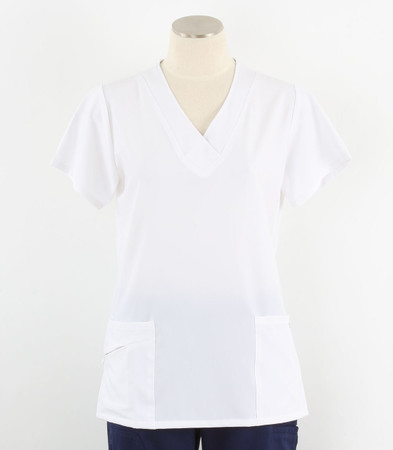 Jockey Womens White Scrub Top with Soft V-Neck New Nav