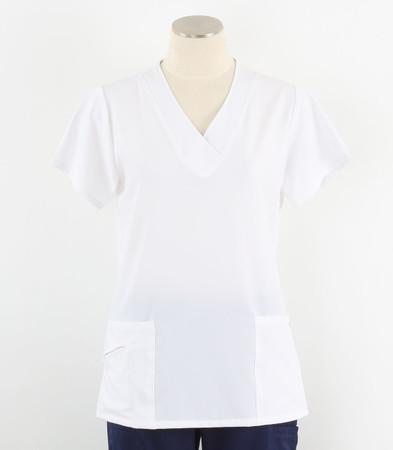 Jockey Womens White Scrub Top with Soft V-Neck New Nav