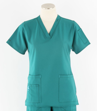 Carhartt Womens Cross-Flex V-Neck Scrub Top Hunter