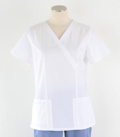 Cherokee Workwear Womens White Mock Wrap Scrub Top