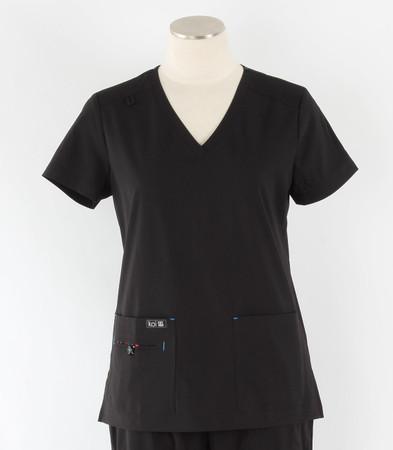Koi Basics Womens V-Neck Scrub Top Becca cut black