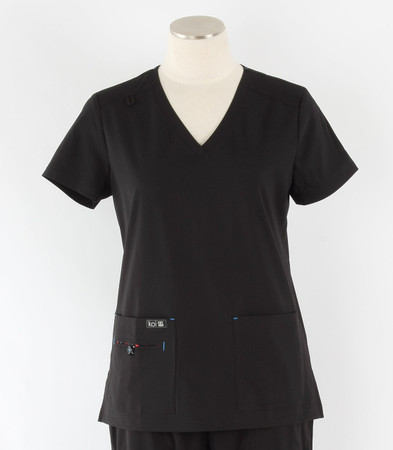 Koi Basics Womens V-Neck Scrub Top Becca cut black
