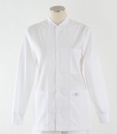 Scrub Med solid white crew neck lab jacket